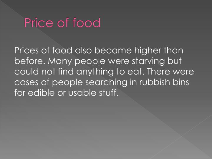 Price of food