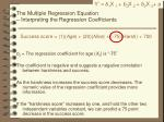 the multiple regression equation interpreting the regression coefficients2