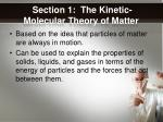 section 1 the kinetic molecular theory of matter