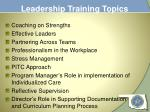 leadership training topics