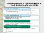 cross composition polynomial kernel weak distillation of a into or q1