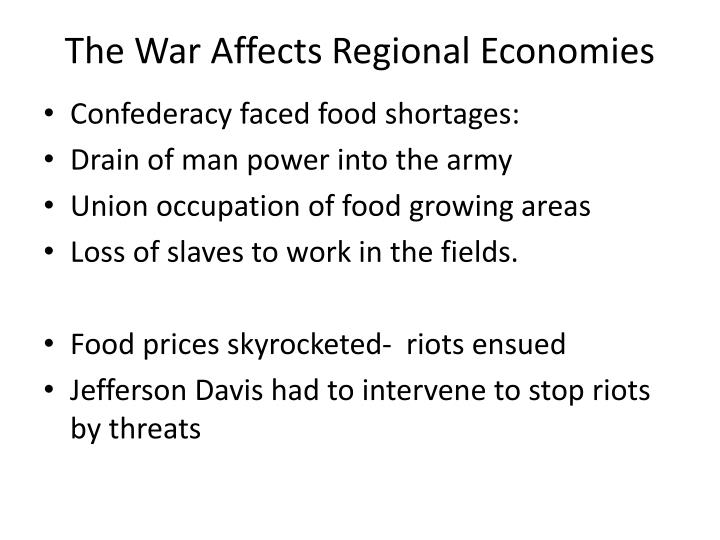 The War Affects Regional Economies