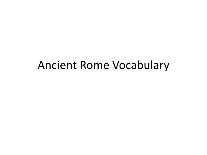 ancient rome vocabulary n.