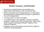 rules issues continued