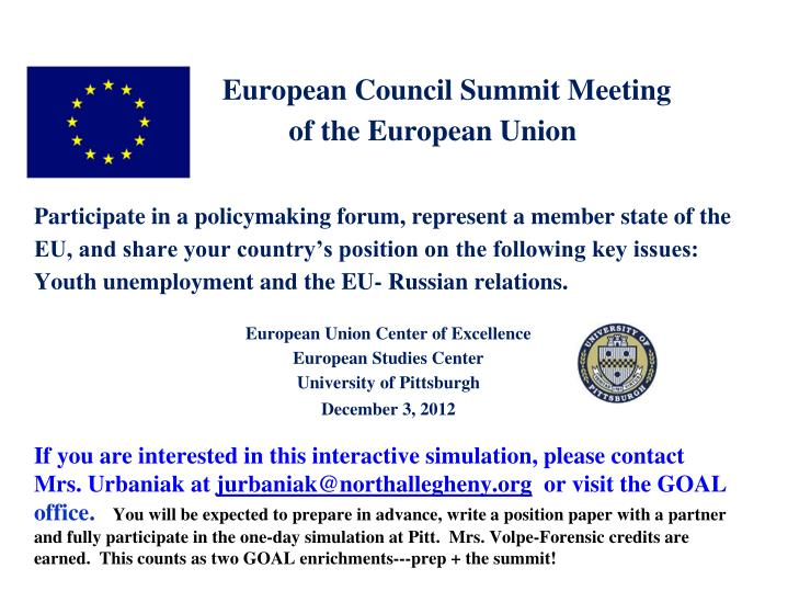 European Council Summit Meeting