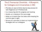 the e transcript checklist a blueprint for colleges and universities in mo