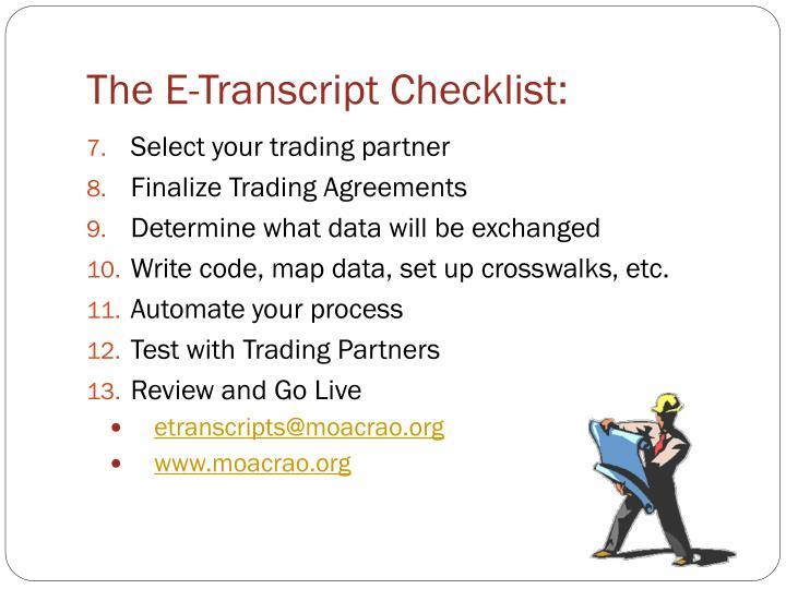 The E-Transcript Checklist: