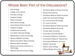 whose been part of the discussions