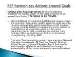 rbf harmonizes actions around goals