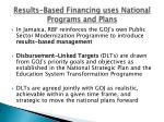 results based financing uses national programs and plans