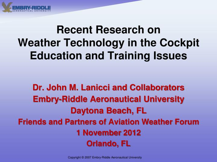 recent research on weather technology in the cockpit education and training issues n.