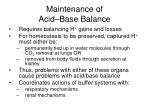 maintenance of acid base balance
