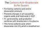 the carbonic acid bicarbonate buffer system
