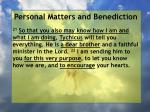personal matters and benediction