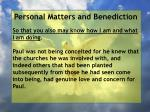 personal matters and benediction1