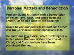 personal matters and benediction10
