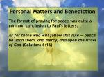 personal matters and benediction11
