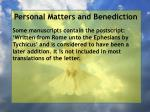 personal matters and benediction13