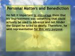 personal matters and benediction2