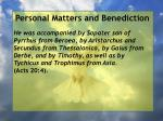 personal matters and benediction4