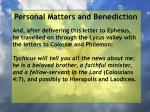 personal matters and benediction5