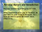 personal matters and benediction6