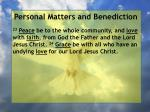 personal matters and benediction8
