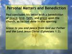 personal matters and benediction9