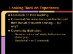 looking back on experience