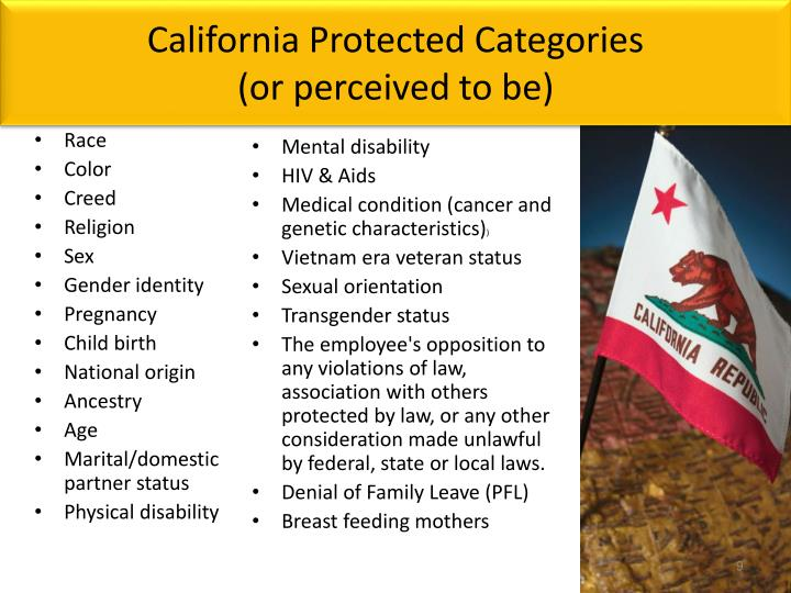 California Protected Categories