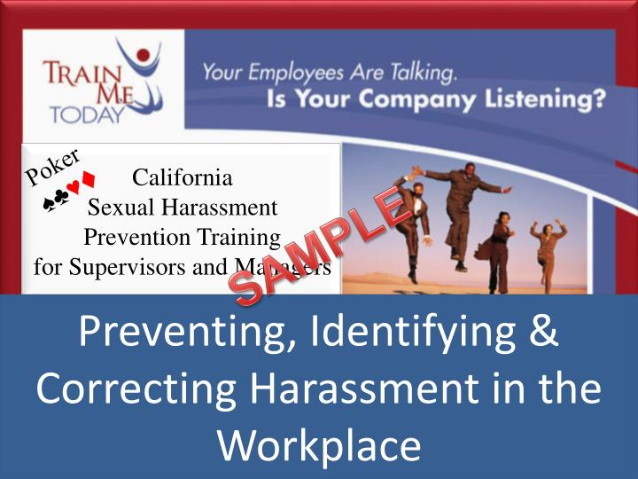 California sexual harassment prevention training for supervisors and managers