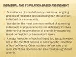 individual and population based assessment