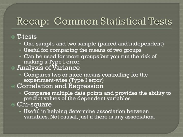 Recap:  Common Statistical Tests
