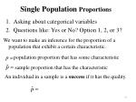 single population proportions