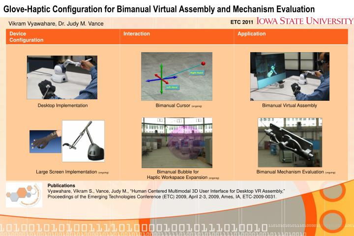 glove haptic configuration for bimanual virtual assembly and mechanism evaluation n.