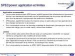 specpower application et limites
