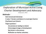 exploration of municipal active living charter development and advocacy evans et al 20131