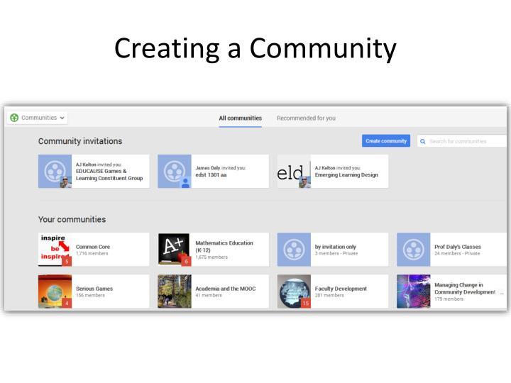 Creating a Community