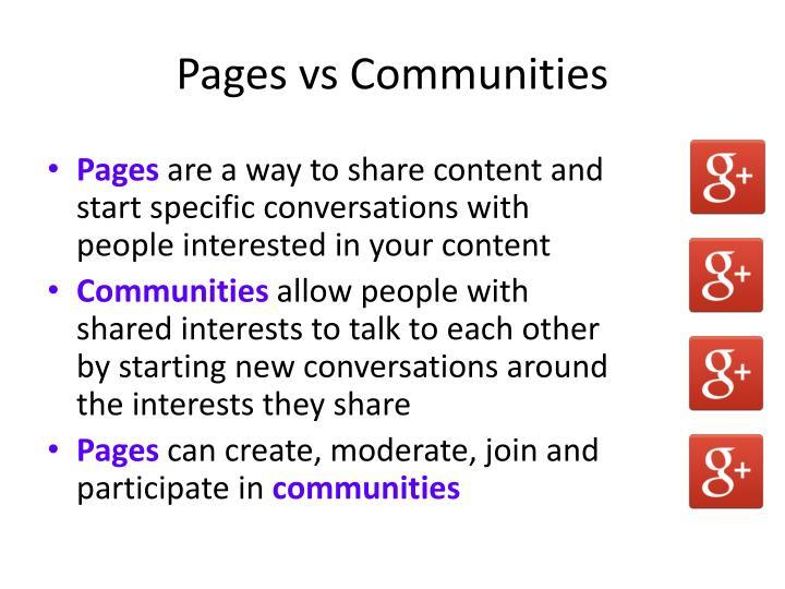 Pages vs Communities