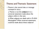 theme and thematic statement