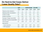 do hard to get cases deliver lower quality data