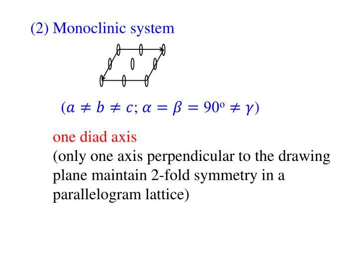 (2) Monoclinic system