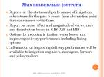 main deliverables outputs