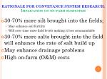 rationale for conveyance system research implication on on farm subsystem