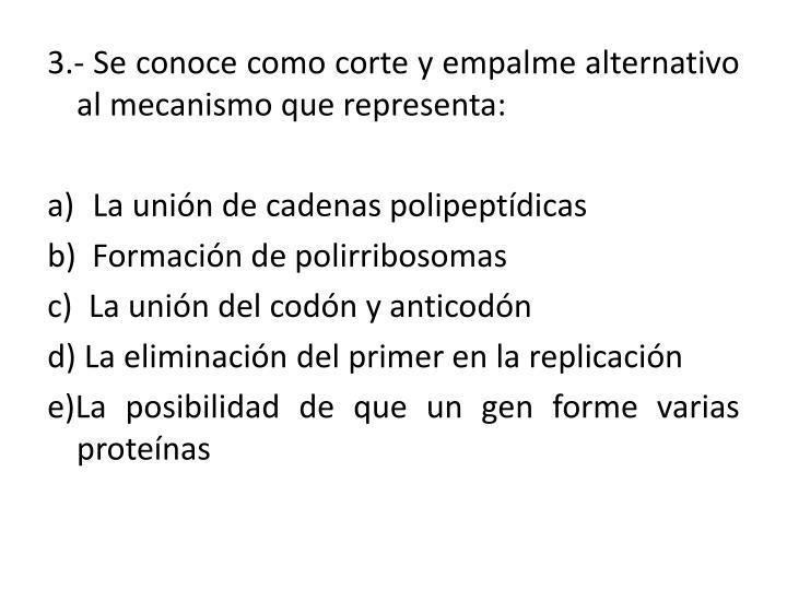 3.- Se conoce como corte y empalme alternativo al mecanismo que representa: