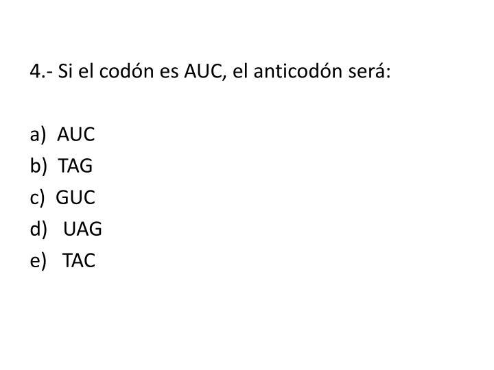4.- Si el codón es AUC, el