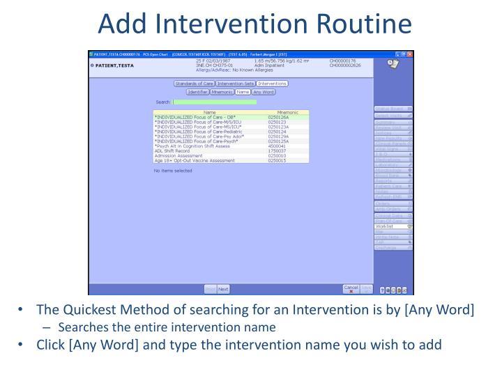 Add Intervention Routine