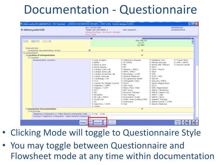 Documentation - Questionnaire