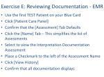 exercise e reviewing documentation emr