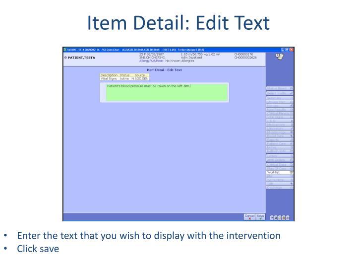 Item Detail: Edit Text